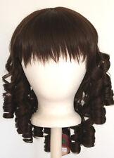 14'' Ringlet Curly Shoulder Length w/ Short Bangs Chocolate Brown Wig Lolita NEW