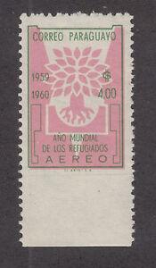 Paraguay Sc C265 MNH. 1960 World Refugee Year, part perf ERROR