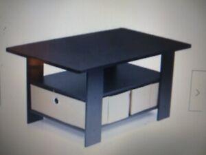 Brand New! Furinno 11158DBR/BK Coffee Table with Bins, Dark Brown/Black