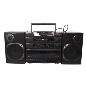 Sony CFD-460 AM/FM CD Dual Casst BOOMBOX Stereo w Detach Speakers Vintage Tested