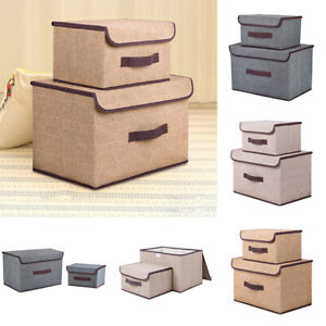 Set of 2 Large&Small Foldable Storage Folding Fabric Clothes Basket with Lid Box