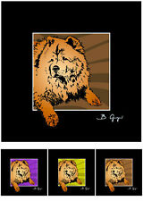 Chow-Chow Pop Art Bild Poster Motiv Foto Hund Hunde Portrait Bilder Tierportrait