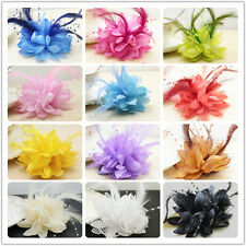 FEATHER HEADBAND WRIST Flower Wedding Party Prom Corsage Pearl Lotus rose red