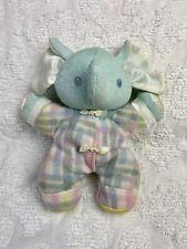 Playskool Plaid Elephant Snuzzles Green Blue Vintage Plush Stuffed Animal