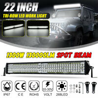 22'' inch 1300W Tri-Row LED Work Light Bar Spot Beam Offroad Car Truck  K
