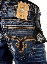 "$220 Mens Rock Revival Jeans ""Ewan"" Copper Stitch Straight Leg 32 X 32.5 Rare!"