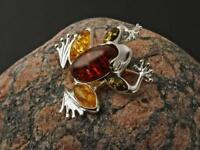 NATURAL BALTIC AMBER STERLING SILVER 925 BROOCH FROG Certified GIFT BOX