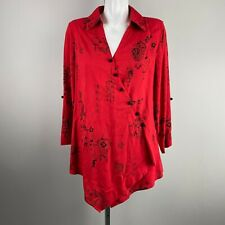 Soft Surroundings Red Black China Paper Lantern  Wrap Blouse Top Size Small