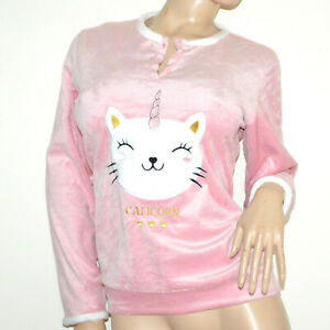 PIGIAMA ROSA BIANCO felpa maglietta pantalone ciniglia manica lunga homewear M