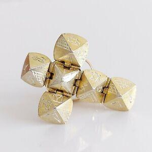 Beautiful Vintage 9ct Gold & Silver Masonic Ball Orb Puzzle Cross Pendant 8g