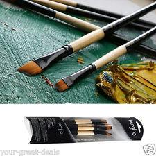 Professional Quality Artist Paint Brush Set 6 Golden Nylon Bristle Short Brushes
