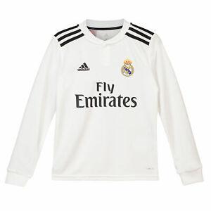 Real Madrid Football Home Jersey Shirt Tee Top 2018 19 Long Sleeve Kids adidas