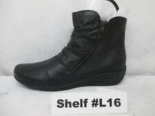 REMONTE Black Leather Zip Wedge Heel Ankle Boots Booties Size 40 EUR
