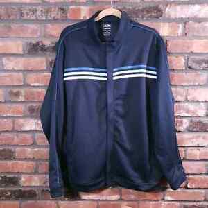 Adidas Climalite Navy Three Stripe Golf Jacket Full Zip Activewear Men's Sz XL