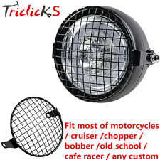 """6 1/4"""" Retro Vintage Motorcycle Side Mount Headlight Cafe Racer Grill Cover NEW"""