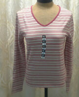 NEW Sonoma Stretch Pink/Red/White Striped Pullover Shirt Women XS NWT Closet320