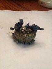"New ListingPewter Hinged Trinket Nest Box W/2 Blue Birds 2 1/4"" Tall & 3 1/4"" Long"