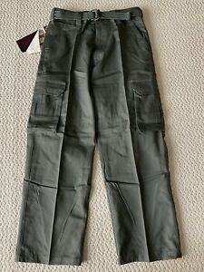 NWT Men's Regal Wear Solid Olive Green Cargo Pocket Pants w/ Belt ALL SIZES