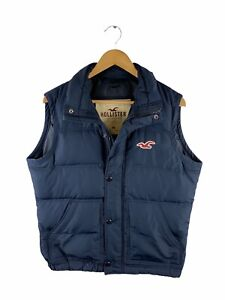 Hollister Puffer Vest Mens Size M Blue Full Zip Collared Logo Casual Pockets