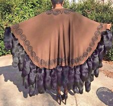Adrienne Landau Brown embroidered wool & Black fox Tails Fur Cape shawl coat OS