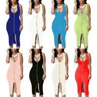 Summer Spring Sleeveless Spilt Deep V-neck Zip-Front Bodycon Plus Size Dress