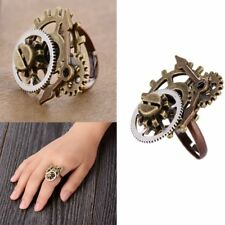 Vintage Steampunk Watch Part Gears Ring Punk Antique Copper Rings Party Jewelry