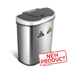 18.5 Gal Touchless Double Trash Bin Garbage Sorter Recycling Can Stainless Steel