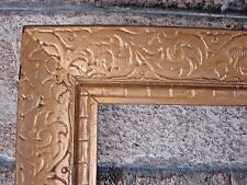 """VINTAGE SOLID WOOD PICTURE FRAME GOLD WITH EMBOSSED SCROLLING DESIGN HOLDS 12""""X1"""