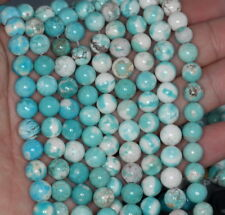 8MM HOWLITE GEMSTONE ROUND TURQUOISE LOOSE BEADS 15.5""