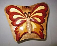 World Design Butterfly Hand Crafted Carved Wood Puzzle Jewelry / Trinket Box