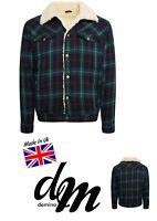 Mens Sherpa Tartan Wool Jacket Borg Lined Winter Jacket Western S M L XL Jock