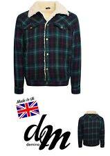 Mens  UK Sherpa Tartan Wool Jacket Borg Lined Winter Jacket Western S-XL Jock