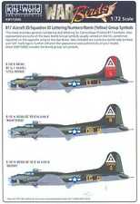 Kits World Decals 1/72 B-17 ID LETTERS NUMBERS & BOMB GROUP SYMBOLS Yellow