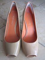 VIA SPIGA Beige Patent Leather Peeptoes Pumps Heels Shoes Size 6 EUC!