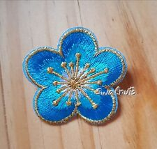 BLUE & GOLD Iron on Transfer Embroidered Daisy Flower Patch Applique Motif Badge