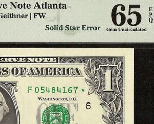 UNC 2009 $1 DOLLAR BILL SOLID STAR ERROR NOTE CURRENCY PAPER MONEY PMG 65 EPQ