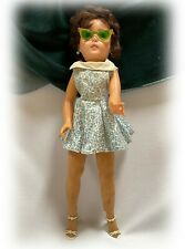 "Vtg 1950s Doll 20"" w Shoes, Earrings, Stockings Cat's Eye Sunglasses Toni Revlon"