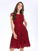 Zimmermann Ladies Maxi Red Rose Embroidered Sleeveless Cut Out Splicing Dress