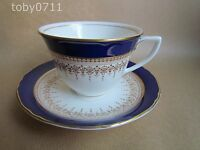 ROYAL WORCESTER REGENCY BLUE TEA CUPS AND SAUCERS (Ref1498)