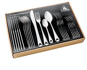disney parks mickey silhoutte 24 pcs satin silverware flatware set new with box