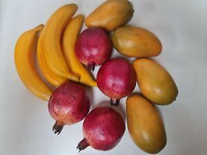 Fake /artificial tropical fruits X 12  4 xbananas 4x pomegranate and 4 mango NEW