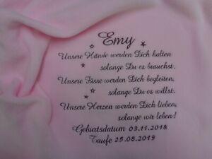 Taufdecke mit Namen,rosa,Babydecke,Geburt,Taufe,bestickt Geschenk