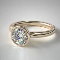 Rund Schliff 2.00 Karat Schöne Diamant Verlobungsring 14K Gelbgold Größe M N O P