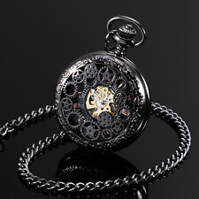 ESS Black Pocket Watch Stainless Steel Roman Numberals Steel With Chain Mens