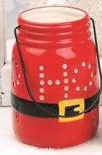 Ho Ho Ho Red Mason Jar LED Santa Christmas Lantern Blossom Bucket NWT 6 x 3.5