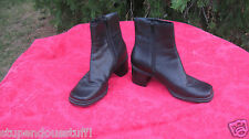 Croft & Barrow Terra  Black Leather Chunky Heel Ankle Boots Zipper  Size 8 M
