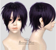Noragami Yato Cosplay Wig Short Layered Synthetic Hair Purple Full Wigs+Cap