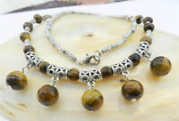 """LOVELY REAL NATURAL TIGER'S EYE ROUND BEADS PENDANTS & TIBET SILVER NECKLACE 18"""""""