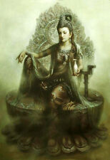 Dream-art Oil painting Chinese Dunhuang fairy Kwan-yin Starting at Jade Pure 36""