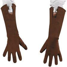 Childs Brown CAPTAIN AMERICA Gloves Long Gants Boys Costume Accessory